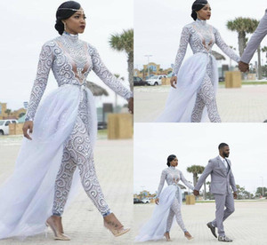 Gorgeous Jumpsuits With Detachable Train Wedding Dresses High Neck Beads Crystal Long Sleeves Modest Wedding Dress African Bridal Gowns 4343
