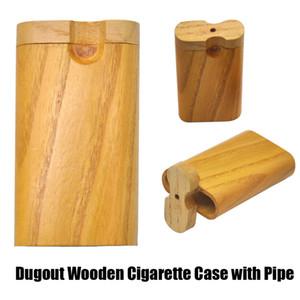 Fait à la main en bois Pirogue pipe cas de cigarettes en bois Réserve cas avec Digger One Hitter Tuyau Les tubes de verre 100mm Diamètre Livraison gratuite