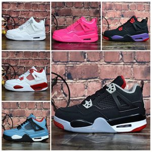 Cheap womens Jumpman 4 basketball shoes 4s Denim Black Cat Fire red Bred Oreo White J4 sneakers boots for youth kids baby boys