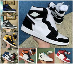 VENDITE 2020 NUOVO alto OG Mens 1 di pallacanestro scarpe a buon mercato reale Banned Ombra Bred Rosso Blu Bianco Scarpa a punta delle donne poco costose 1s Chicago Sneakers