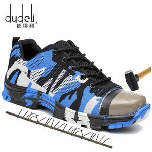kutu Büyük Boyutu ile 36-48 Unisex Emniyet ayakkabı erkekler İş Boots Kamuflaj Çelik Burun Çizme Erkekler Açık İş Ayakkabıları Hava Mesh Güvenlik