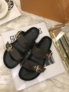 verano del resorte de los zapatos de las sandalias de las mujeres de moda los hombres genuina talón plano de cuero con una bolsa de polvo de la caja