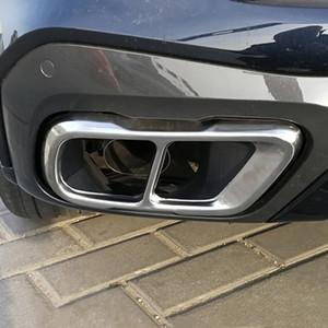 Acero Car Styling tubo de escape de salida Ajuste de la cubierta vinilo decorativo inoxidable para BMW X7 G07 2019 Accesorios Exterior