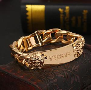Luxo Designer Charm Bracelets Estilo Punk Cabeça de Ouro Casal Pulseiras de Aço Inoxidável Pulseira de Jóias Para Mulheres Homens