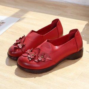 Xiuteng 2020 Automne Véritable Chaussures plates femmes en cuir souple Bas mère chaussures à la main Fleur cadeau Casual