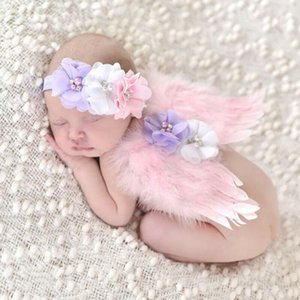 New Newborn Baby Wings+Headband Flower Costume Photo Photography Prop Outfits