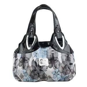 couro FGGS-Fashion Bolsa das mulheres PU Bag Tote Bag Impressão Bolsas Satchel -Dream cártamo + Alça branco