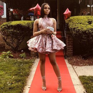 Pink Sequin Mini Homecoming Dresses Halter Backless Tier Skirt Short Prom Dress Africa Girls Backless Party Gowns