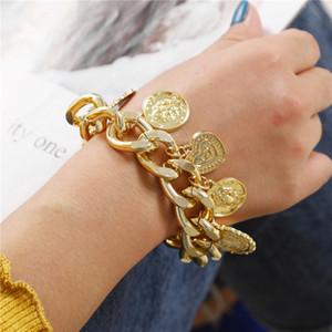 Vintage Münze Herz-Verschluss-Charme-Armband-Punk-Kettenarmbänder Retro Frauen Frau Hip Hop große Gold Farbe Anhänger Armband-Schmucksachen