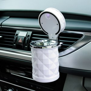 Car Accessories Universal Luxury Portable LED Light Car Ashtray Cigarette Holder Car Styling Smoke Black White Storage Cup DH0971 T03