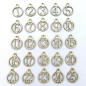Wooden Number Ornaments Gift Wraps Hanging Decoration 1 to 25 Numbers in Wooden Circle Christmas Final Countdown Wood Crafts