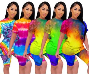 Frauen Designer Sommer 2pcs Klagen Farbe Gebunden Gefärbtes Mode Tracksuits Tops Shorts 2pcs Kleidung Sets