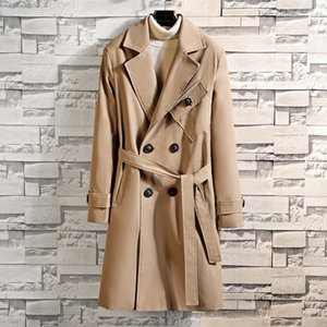 2019 autumn clothes new large size men's casual double-breasted long windbreaker men's temperament Windbreaker coat coat fashion