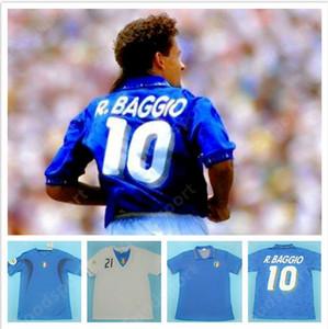 Retro Itália 90 1994 2000 de Futebol camisa de futebol clássico 2006 86 World cup TOTTI R.BAGGIO PIRLO MALDINI Italia Italiano Calcio
