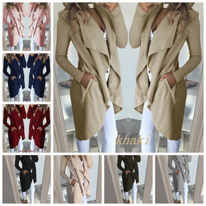 Manchar 2019 Outono Europeu e inverno cor sólida lapela de manga comprida Magro mid-length jaqueta corta-vento feminino, apoiar lote misto
