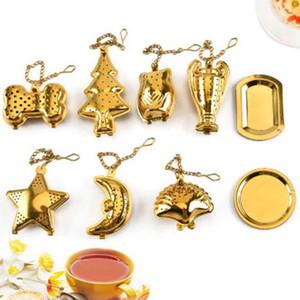 Teaware tè dell'acciaio inossidabile Filtro Shell a forma di stella Filtro colino da tè di colore dell'oro del tè Infuser l'attrezzo della cucina ZZA1833