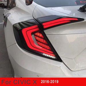 혼다 시빅 미등 10 세단의 경우 2016 2017 2018 2019 LED 자동차 테일 라이트 후미등 리어 램프 + 브레이크 라이트 자동차 스타일링을 반전 + 켜기