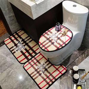 3 pezzi del modello della banda di modo di marca igienici copertura del piede Toilet Seat Cover antiscivolo Stripe Stampa Hot Sale Bagno Set