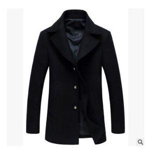 blue mens jacket Men's Wool & Blends peacoat New autumn and winter Big code man woolen overcoat Medium length fund Leisure time Woolen coat