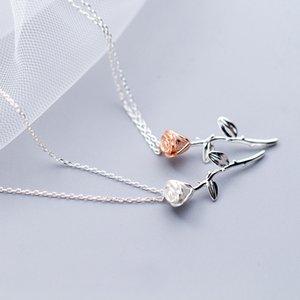MloveAcc 100% 925 твердые настоящее серебро личности Роза кулон 40 см короткие ключицы Ожерелье для девушки женщин ювелирные изделия