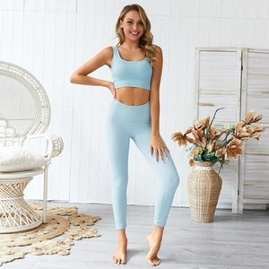 Yoga Sets Exercise Outfits for Women Ribbed Seamless Sports Bra and Leggings Set Yoga Outfits Running Gym Wear Tracksuits,LF045