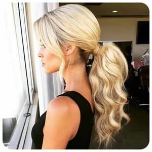 Klip Tek Parça Hairpie 613 ile Pony Tail İnsan Saç BALAYAGE Bal Kül Sarışın Bleach Blonde Çevresinde at kuyruğu Uzatma Wrap 18inch Klip