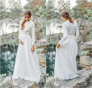 2020 Yeni Modest West Country Gelinlik A Hattı mücevher Yaka Uzun Kollu Bohemian Gelinlik Custom Made Şık vestidos de Novia 751