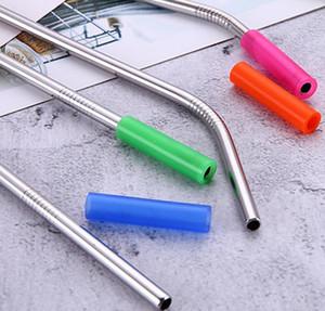 6mm Geniş Paslanmaz Çelik Payet Karşıtı haşlanma / Soğuk Payet Kapak için 1lot / 100pcs Renkli Food Grade Silikon İpuçları Kapak saman ipuçları