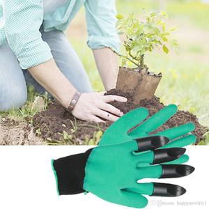Перчатки сада с когтями 4 ABS пластиковый сад Genie резиновые перчатки быстрые легко копать и завод для выкапывания посадки свободный корабль
