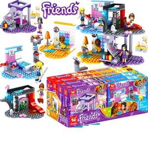 4 puzzle jouets boxed assemblé blocs de construction filles enfants combinaison parc d'attractions jouets éducation préscolaire cadeaux