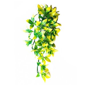 12 Inch For Reptile DIY Fish Tank Simulated Plant With Suction Cup Plastic Fake Hanging Pet Supplies Realistic Artificial Vine