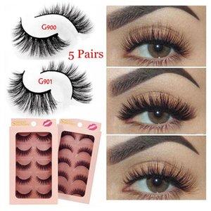 5Pairs 3D Mink Eyelashes Black Natural Long Handmade Thick 3D False Lashes Extension Big Eyes Cosmetic Beauty Makeup Tools Acces