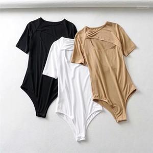 Sexy Jumpsuits Tuch beiläufige Art und Weise Dame Top Fashion aushöhlen Frauen-Sommer-T-Shirt Designer-Knopf Donna