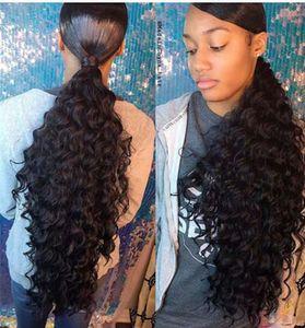 160g İnsan Saç Derin dalga Ponytails Hairpieces dalgalı Kıvırcık At Kuyruğu İpli Klip etrafında Midilli Kuyruk 4 Renkler Mevcut 1 adet