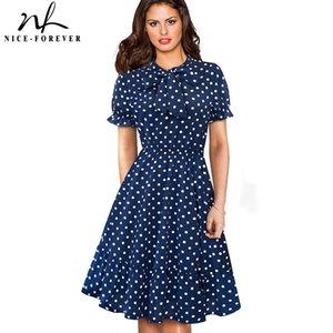 Nice-forever Elegante Vintage Polka Dots Pinup Bow Vestidos Business Party femminile Flare A-line Swing Women Dress A130 J190601