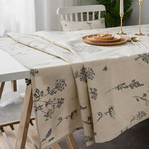 Withme Nappes rectangulaires Couvre draps en coton antipoussière Salle à manger Cuisine Motif floral Décor Imprimé Tapete Tafelkleed