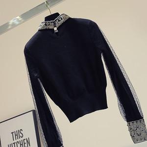 Maglioni Outer Wear ricamato Mesh donne del maglione del ponticello Autunno nuovo Slim-Fit scarsità di base Maglione Manteau Femme Nancylim