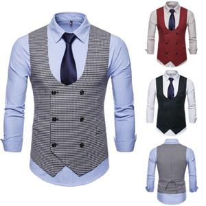 2019 Yeni Moda Butik Erkek Takım Elbise Yelek Casual İş Ekose Yelek Yelek İnce çift Breasted Ekose Yelek Blazer Ceket