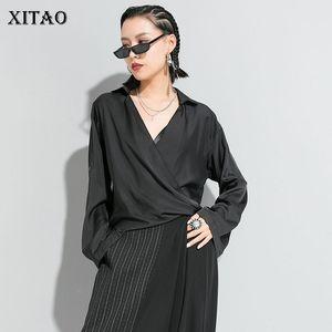 Xitao Zarif V Yaka Kadın Bluzlar Moda Uzun Kollu Düzensiz Gömlek Gevşek Trend Kadınlar 2020 İlkbahar Katı Renk XJ3778 Tops
