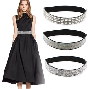 High qualtiy belt for woman fashion bling handmade rhinestones inlaid elastic stretch girdle women skirt coat dotted wide belt women