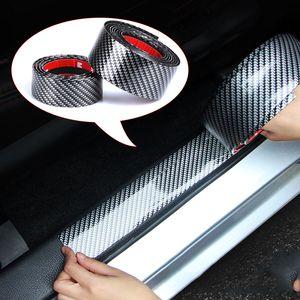 5d ألياف الكربون المطاط التصميم سيارة ملصقا عتبة الباب حامي البضائع لكيا تويوتا bmw أودي مازدا فورد هيونداي جيب سيارة ملصقا
