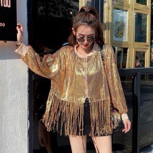 Frühling neue Mode Pailletten Gold Jacken Frauen Aufmaß lose Quaste Mantel Silber Gold rote Jacke Mäntel Punkfrau Jacke QT14