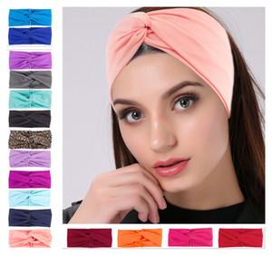 New Fashion Solid Sport Yoga Dance Biker Wide Knot Headband Hood Stretch Hairband Elastic Girl Women head wrap