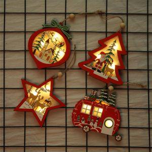 Ornement Hanging creux pailleté Pendentif en bois suspendu Décoration de Noël Chalet pendentif LED Hanging Décor JK1910