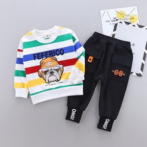 Set di abbigliamento per bambini Cartone animato Design per cani Ragazzi Ragazze Set di vestiti per bambini Cappotto a manica lunga Felpa con cappuccio Cappotto + Pantaloni