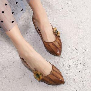Experto2019 Ancient Return Xia Wenyi Cuero genuino grueso con mujer Sharp Flower Manual Shoe Single Shoes