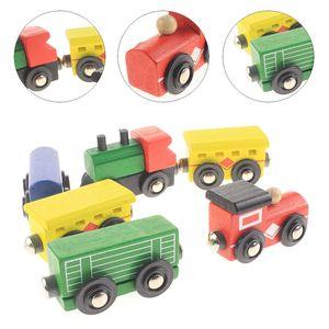 قطار خشبي مع سكة قطار ذات جانبين يناسب لعبة (بريو) الخشبية المثالية للفتيان والفتيات