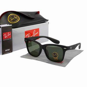 Beautiful Plank black and white Sunglasses Wayfarers High Quality glass Lens Green Lens black Sunglasses men women sunglasses
