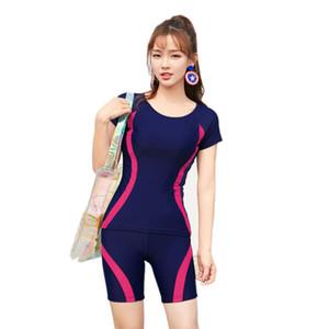 الأزرق الداكن المايوه 4 ألوان قصيرة الأكمام ملابس النساء زائد حجم ملابس السباحة قطعتين فصل الصيف الشاطئ ارتداء tankini العظمى تمتد