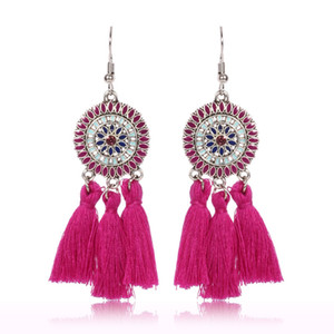 2019 ручной этнической богемной нитью кисточкой серьги винтажные украшения для женщин и девочек бесплатная доставка 13 цветов C6029